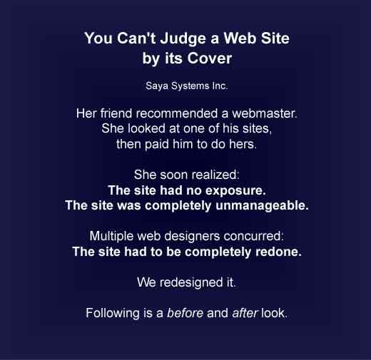 You can't judge a web site by its cover.